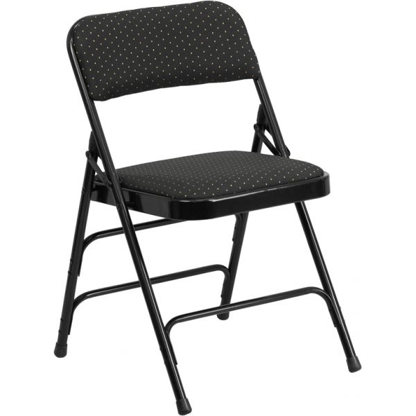 Flash Furniture HERCULES Series Curved Triple Braced & Double Hinged Black Patterned Fabric Upholstered Metal Folding Chair