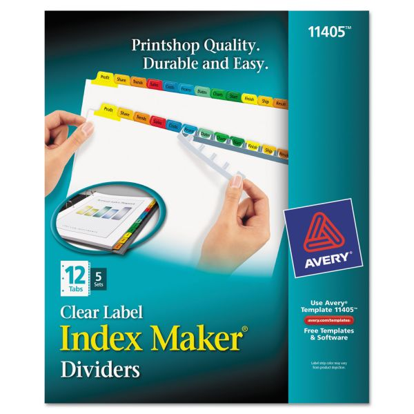 Avery Print & Apply Clear Label Dividers, 12-Tab, Multi-color Tab, Letter, 5 Sets