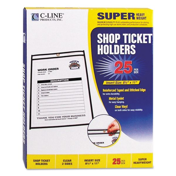 "C-Line Shop Ticket Holders, Stitched, Both Sides Clear, 50"", 8 1/2 x 11, 25/BX"