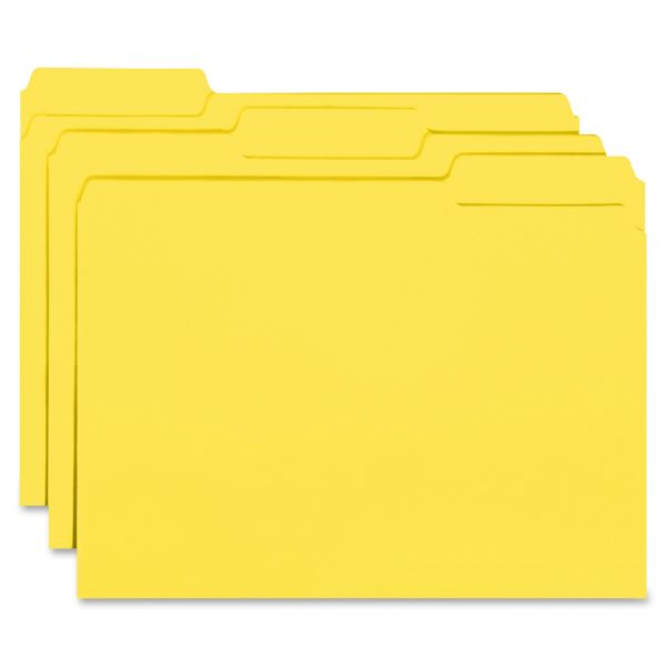 Smead Interior File Folders, 1/3 Cut Top Tab, Letter, Yellow, 100/Box