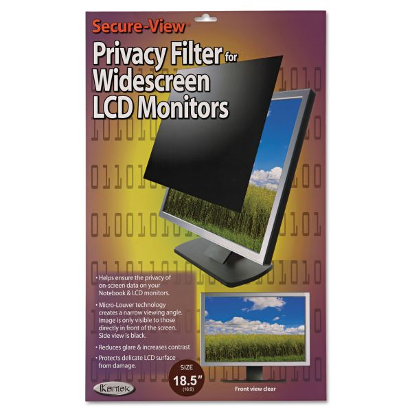 "Kantek Secure View LCD Monitor Privacy Filter For 18.5"" Widescreen"