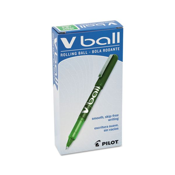 Pilot VBall Liquid Ink Roller Ball Stick Pen, Green Ink, .5mm, Dozen