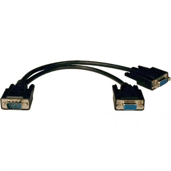 Tripp Lite VGA Monitor Y Splitter Cable (HD15 M/2xF) 1-ft.