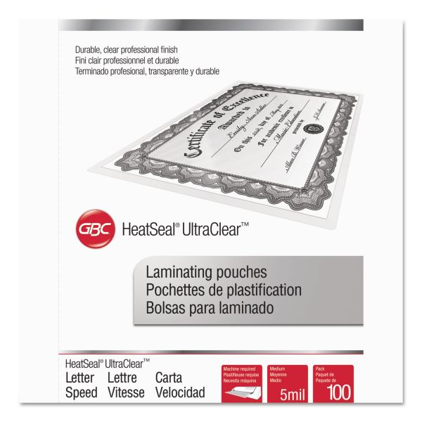 GBC HeatSeal Letter Size Laminating Pouches