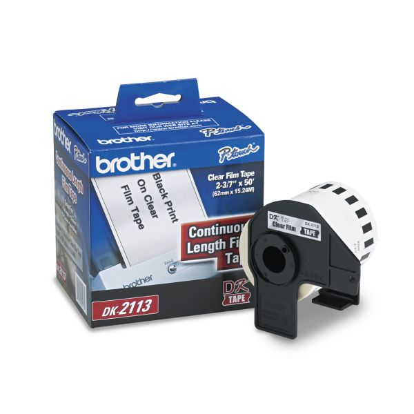 """Brother Continuous Film Label Tape, 2-3/7"""" x 50 ft Roll, Clear"""