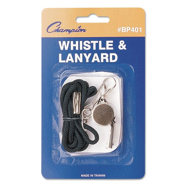 Champion Sports Sports Whistle with Black Nylon Lanyard, Metal, Silver