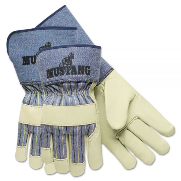 "Memphis Mustang Premium Grain-Leather-Palm Gloves, 4-1/2"" Long, Medium"
