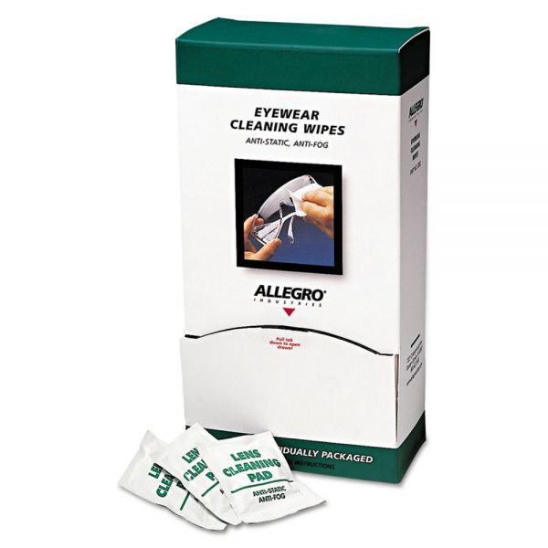 "Allegro Eyewear Cleaning Wipes, 5 in x 8"", White, 100/Box"