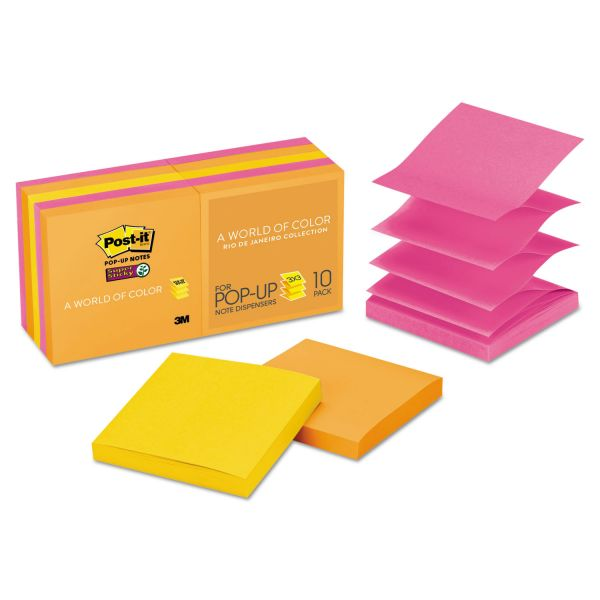 Post-it Pop-up Notes Super Sticky Pop-up 3 x 3 Note Refill, Rio de Janeiro, 90 Notes/Pad, 10 Pads/Pack