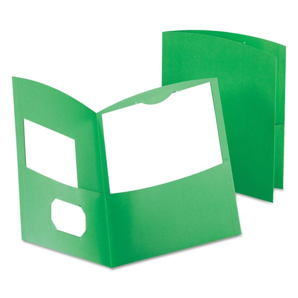 Oxford Contour Green Two Pocket Folders