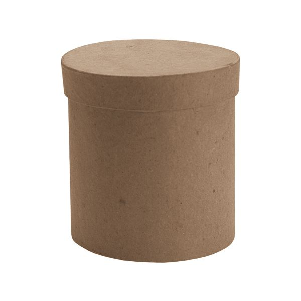 Paper-Mache Tall Round Box With Lid