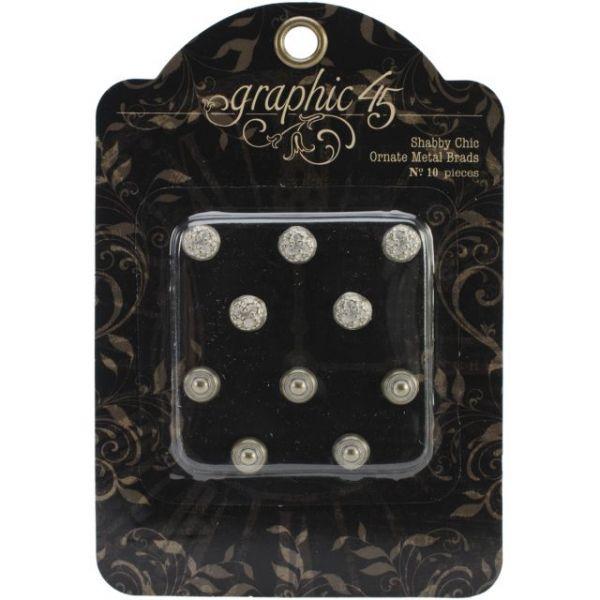 Staples Ornate Metal Brads 10mm 10/Pkg