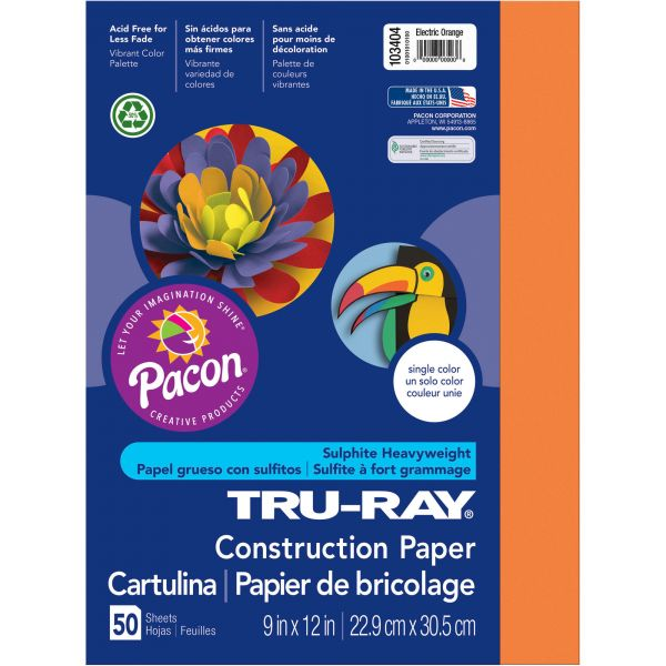 Tru-Ray Heavyweight Sulphite Orange Construction Paper