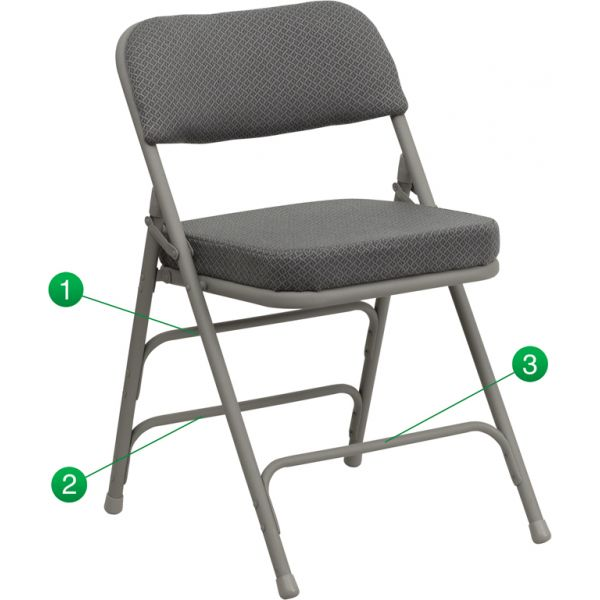 Flash Furniture HERCULES Series Premium Curved Triple Braced & Quad Hinged Gray Fabric Upholstered Metal Folding Chair [HA-MC320AF-GRY-GG]