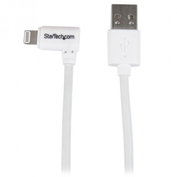 StarTech.com 1m 3 ft Angled Lightning to USB Cable - White - Angled Lightning Cable for iPhone / iPod / iPad