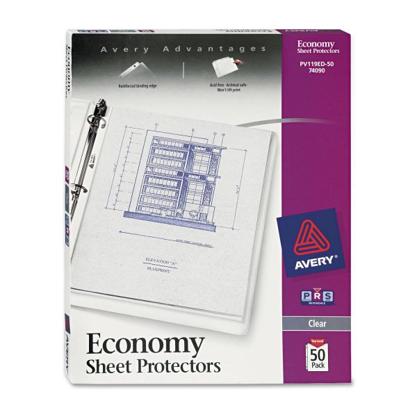 Avery Top-Load Sheet Protector, Letter, Economy Gauge, Clear, 50/Box