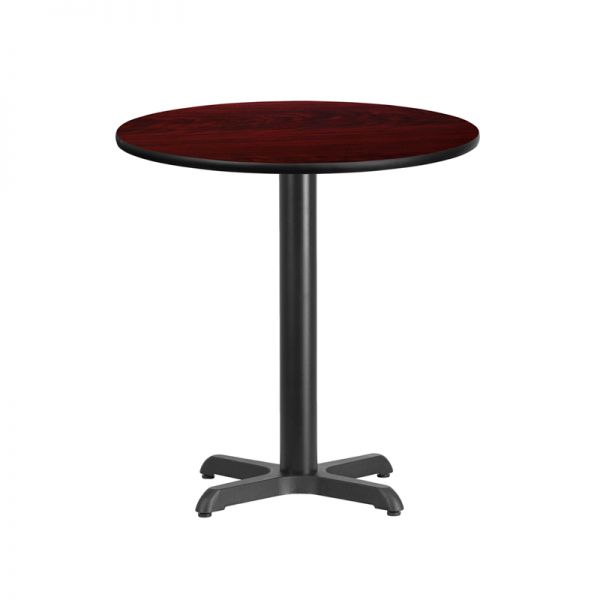 Flash Furniture 24'' Round Mahogany Laminate Table Top with 22'' x 22'' Table Height Base