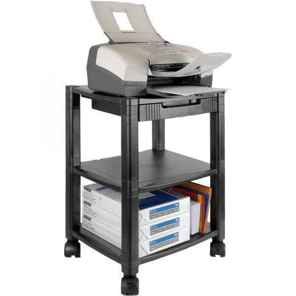 Kantek Three-Shelf Printer Stand with Drawer, 17 x 13-1/4 x 24-1/2, Black
