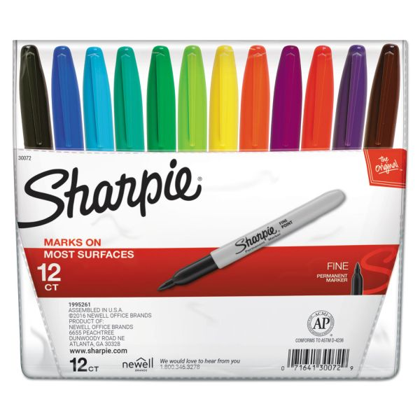 Sharpie Fine Point Permanent Marker, Assorted, 12/Set