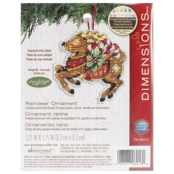 Susan Winget Reindeer Ornament Counted Cross Stitch Kit