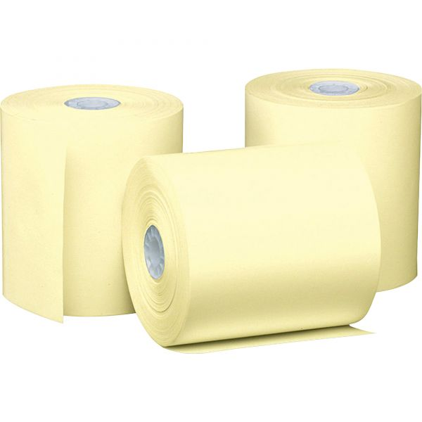 """PM Company Single Ply Thermal Cash Register/POS Rolls, 3 1/8"""" x 230 ft., Canary, 50/CT"""