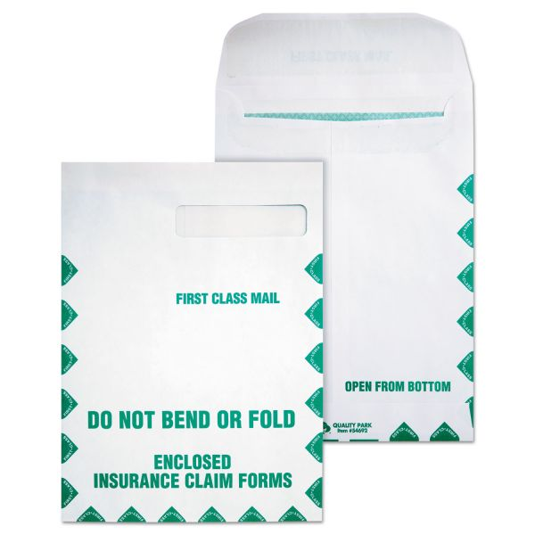 Quality Park Redi Seal Insurance Envelope, First Class, 9 x 12 1/2, White, 100/Box