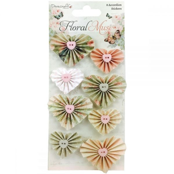 Dovecraft Floral Muse Accordion Stickers 8/Pkg
