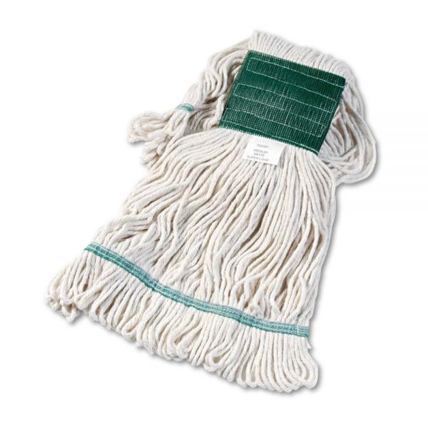 Boardwalk Super Loop Wet Mop Head, Cotton/Synthetic, Medium Size, White, 12/Carton