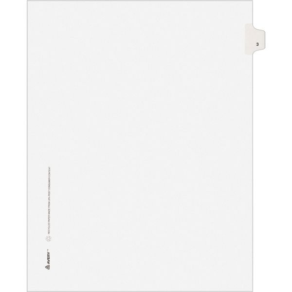 Avery-Style Legal Exhibit Side Tab Divider, Title: 3, Letter, White, 25/Pack