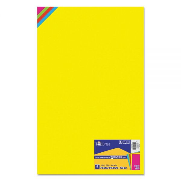 Royal Brites Premium Coated Poster Board, 14 x 22, Assorted, 5/Pack