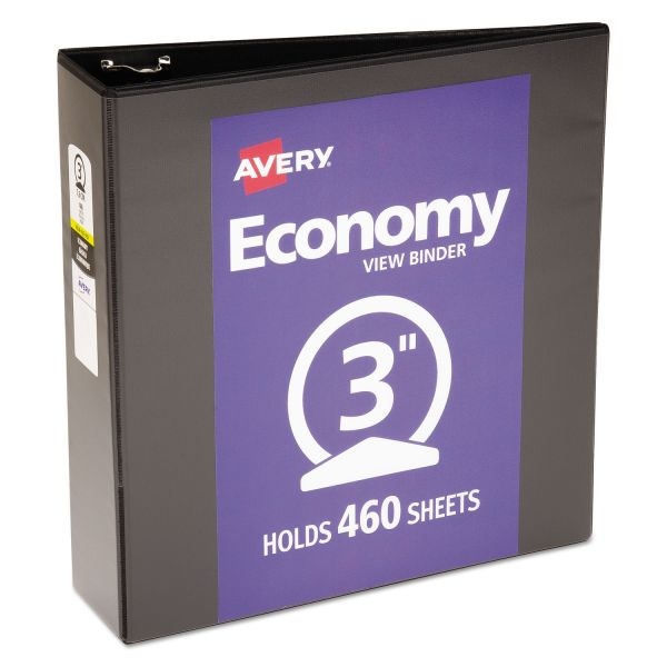 "Avery Economy 3-Ring View Binder, 3"" Capacity, Round Ring, Black"