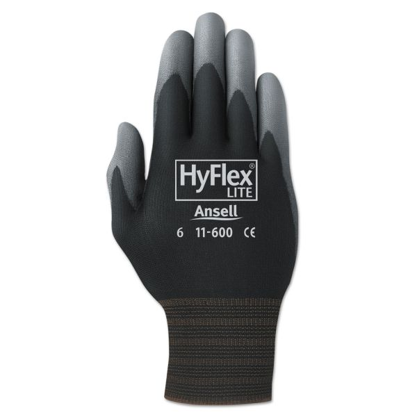 AnsellPro HyFlex Lite Gloves, Black/Gray, Size 9, 12 Pairs