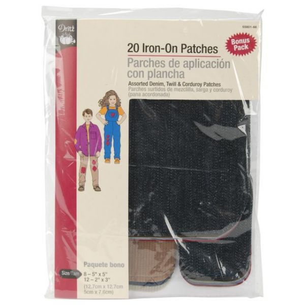 Iron-On Repair Patches 20/Pkg