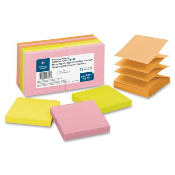 "Business Source 3"" x 3"" Pop-Up Adhesive Note Pads"