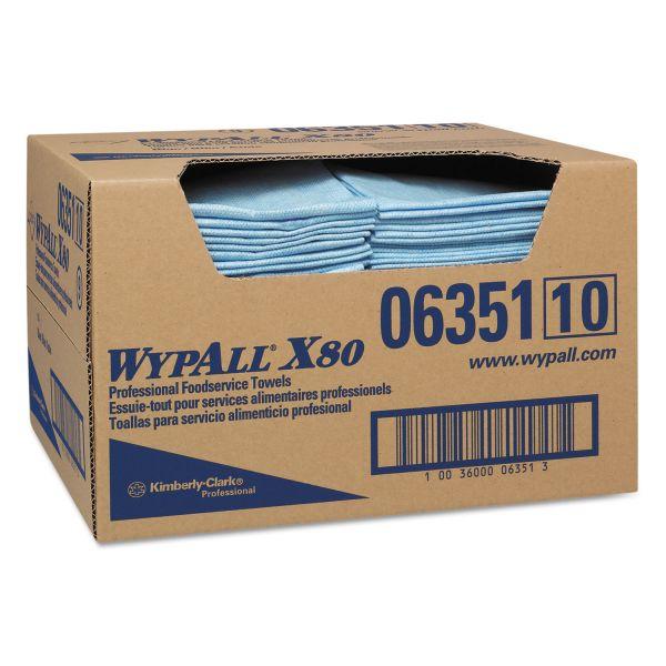 WypAll* X80 Foodservice Paper Towel, Spunlace, 13 1/2 x 24, Blue, 150/Carton