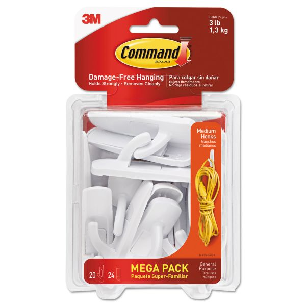 Command General Purpose Hooks, 3lb Capacity, Plastic, White, 20 Hooks, 24 Strips/Pack
