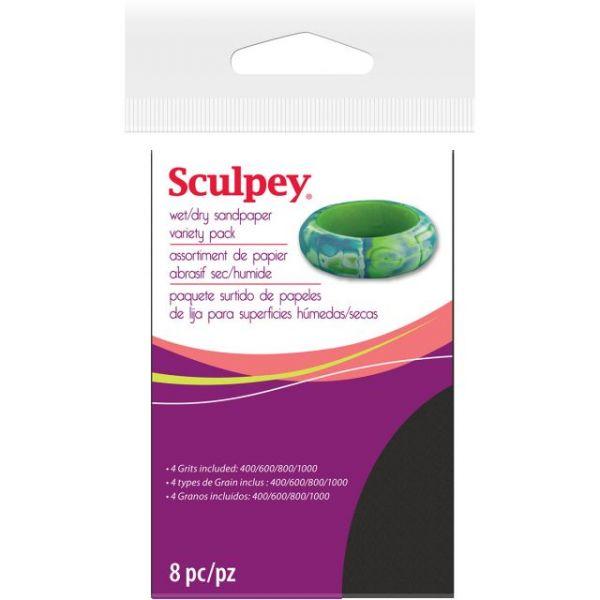 Sculpey Wet/Dry Sandpaper Variety Pack 8/Pkg