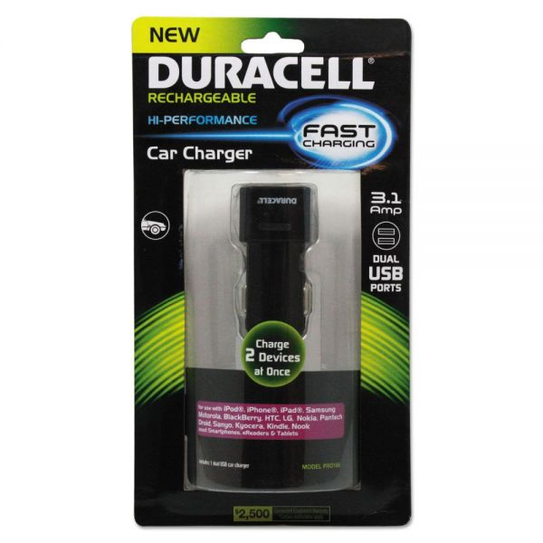 Duracell Car Charger for USB Devices, Two Ports, LED Light