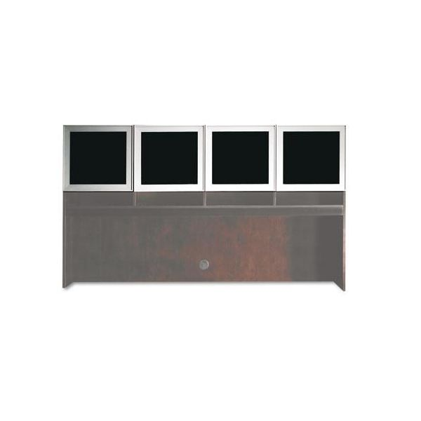 Tiffany Industries Eclipse Series Frosted Glass Hutch Doors With Brushed Silver Frame
