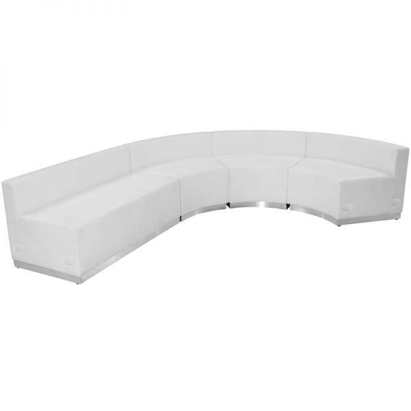 Flash Furniture HERCULES Alon Series White Leather Reception Configuration, 4 Pieces