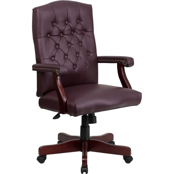 Flash Furniture Martha Washington Executive Swivel Office Chair [801L-LF0019-BY-LEA-GG]