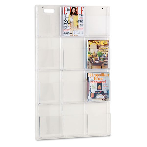 Safco Reveal Clear Literature Displays, 12 Compartments, 30w x 2d x 49h, Clear
