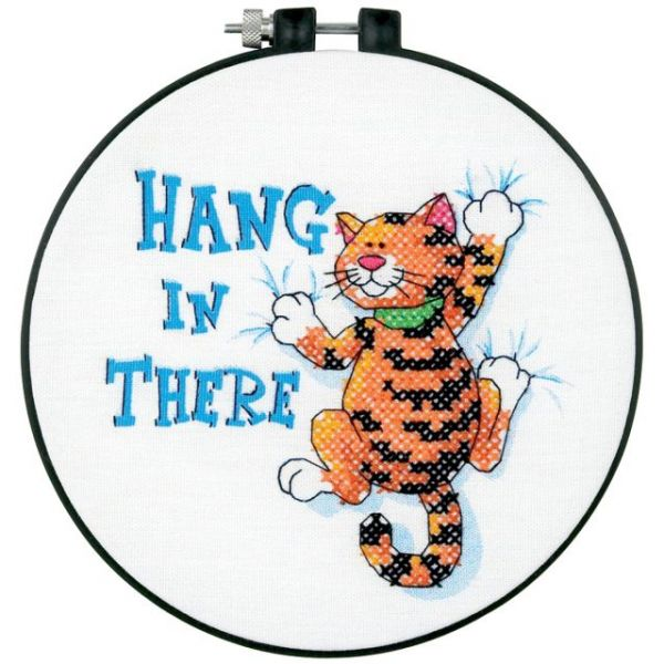 Learn-A-Craft Hang In There Stamped Cross Stitch Kit