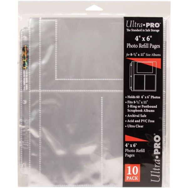 """8.5""""X11"""" 3 Hole Refill Pages Holds 60 4""""X6"""" Photos"""