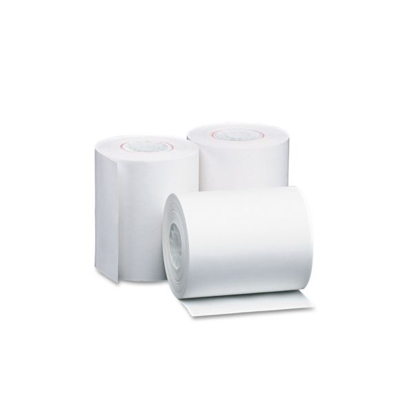 "PM Company Single Ply Thermal Cash Register/POS Rolls, 4 3/8"" x 127 ft., White, 50/CT"