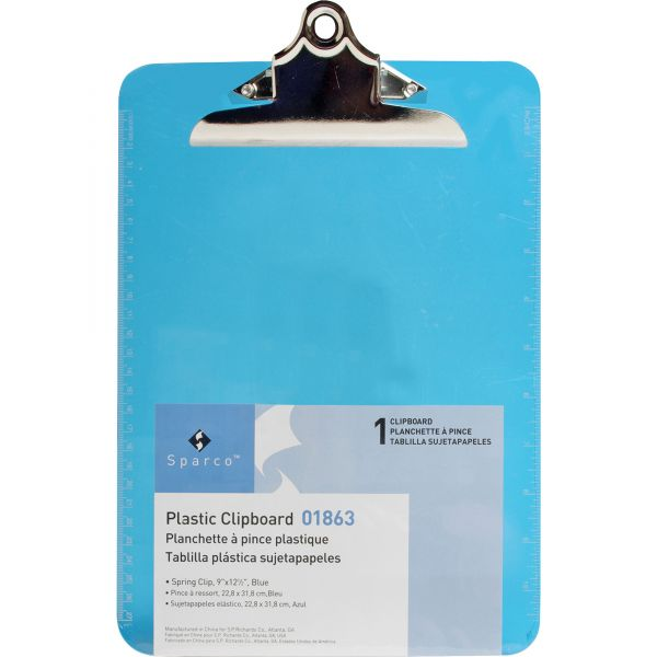 Sparco Plastic Transparent Blue Clipboard