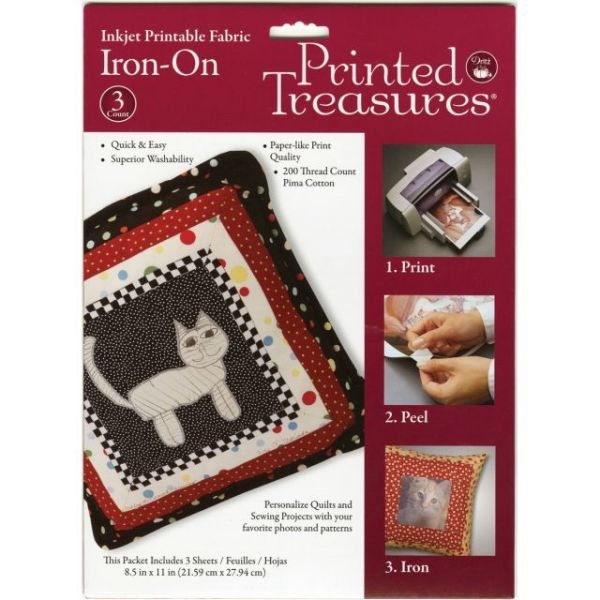 "Printed Treasures Iron-On Ink Jet Fabric Sheets 8.5""X11"" 3/P"