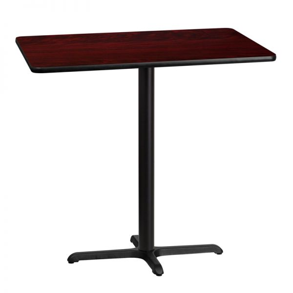 Flash Furniture 30'' x 42'' Rectangular Mahogany Laminate Table Top with 22'' x 30'' Bar Height Table Base