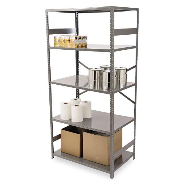 Tennsco Commercial Steel Shelving, Five-Shelf, 36w x 24d x 75h, Medium Gray