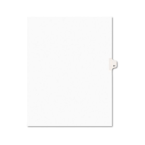 Avery-Style Legal Exhibit Side Tab Divider, Title: 61, Letter, White, 25/Pack